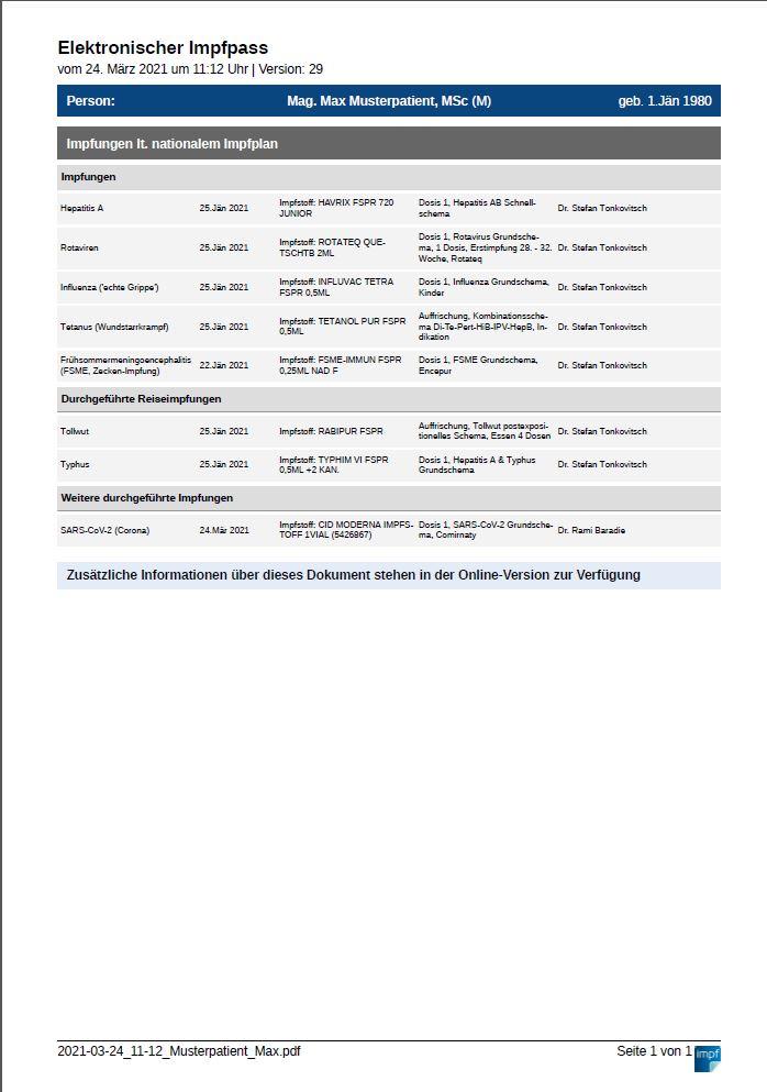 Der elektronische Impfpass, als PDF ausgegeben